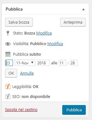 Imposta la data di pubblicazione